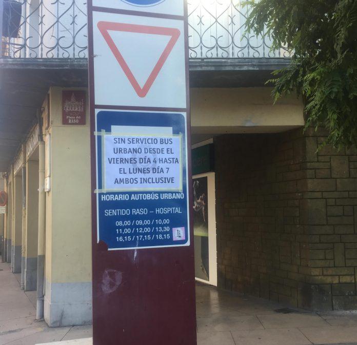 cartel servicio autobús municipal