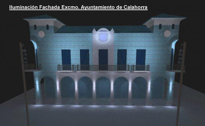 iluminación Casa Consistorial azul turquesa