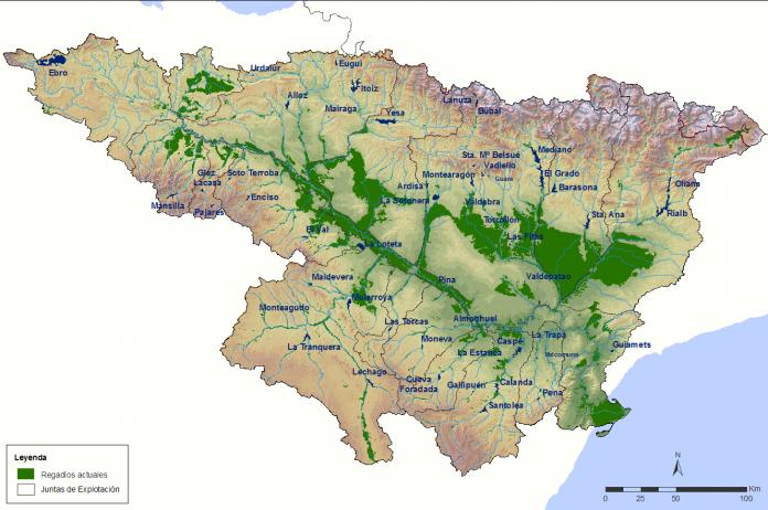 mapa de los sistemas de riego de la CHE
