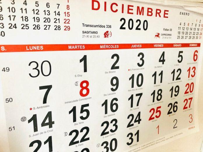 calendario diciembre 2020