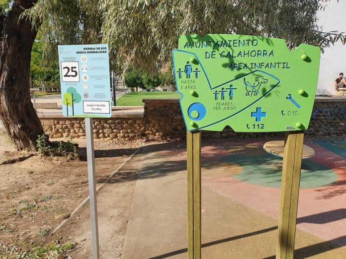 parque infantil letrero