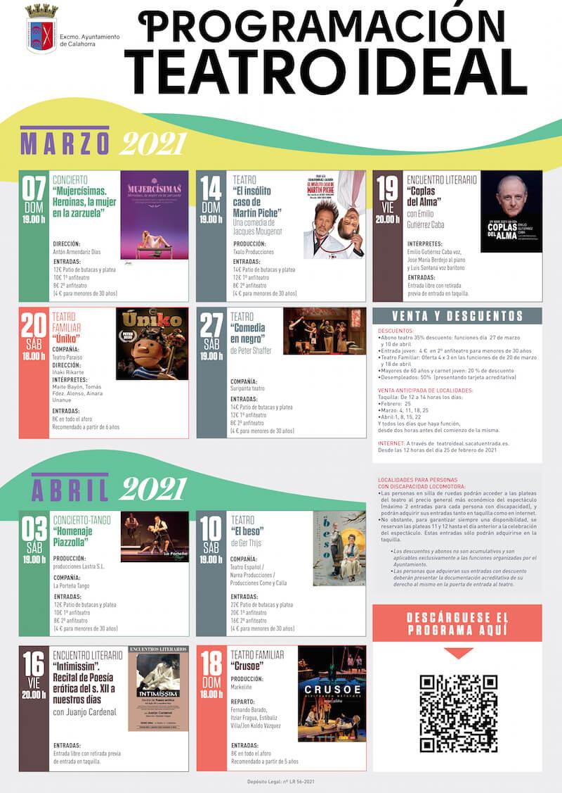 Cartel teatro marzo-abril 2021