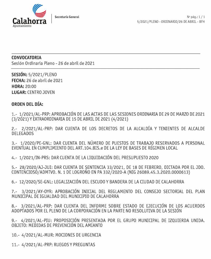 convocatoria Pleno abril 2021