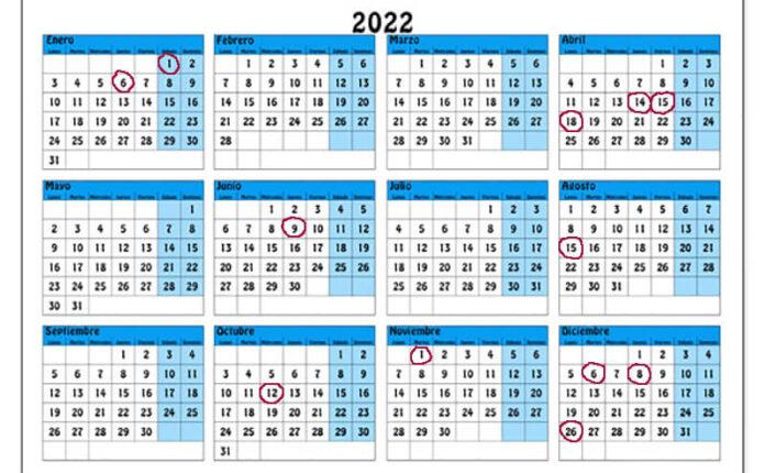 calendario festivos 2022