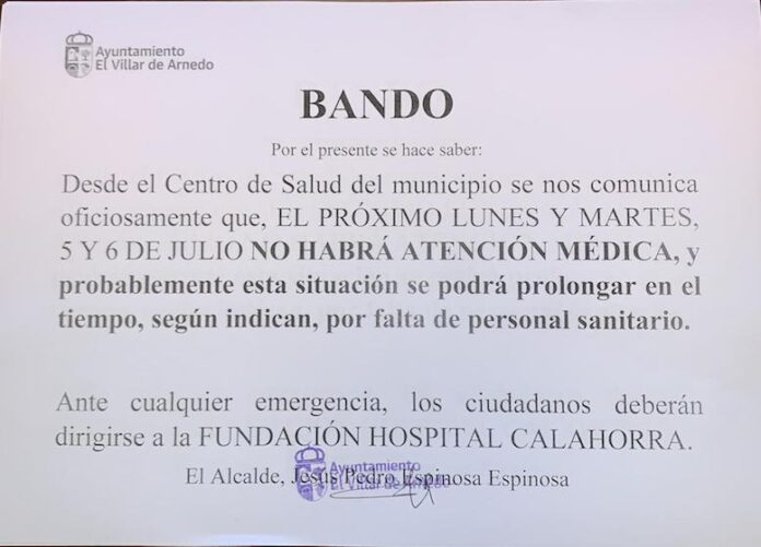 bando El Villar sin médicos