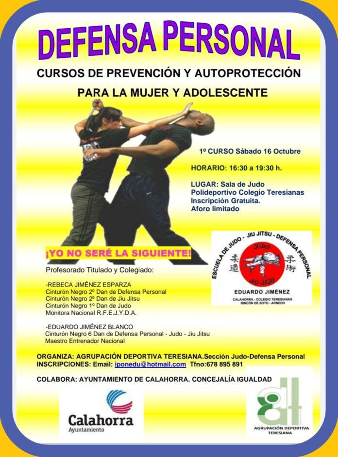 cartel curso defensa personal 2021
