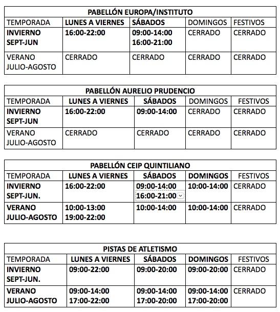 horarios instalaciones deportivas